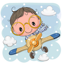 Cute cartoon boy is flying on a plane vector
