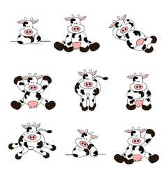 cute cow set vector image