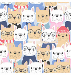 cute flat style french bulldog dog in gentle man vector image
