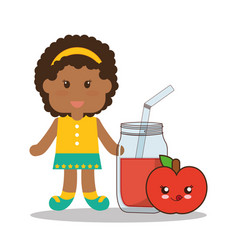 Cute girl jar juice apple kawaii vector