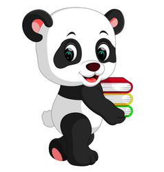 Cute panda holding books vector