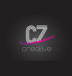 cz c z letter logo with lines design and purple vector image