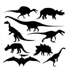 Dinosaur silhouettes extinct species isolated vector