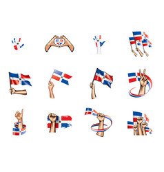 Dominicana flag and hand on white background vector