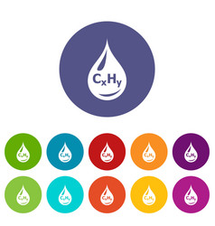 drop oil icons set color vector image