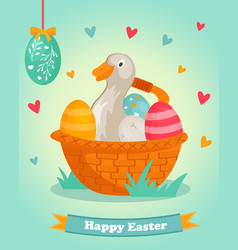 Easter bright postcard with funny duck vector
