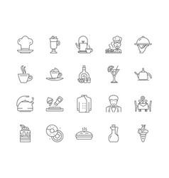english restaurants line icons signs set vector image