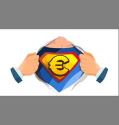 Euro sign superhero open shirt with shield vector