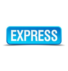 express blue 3d realistic square isolated button vector image