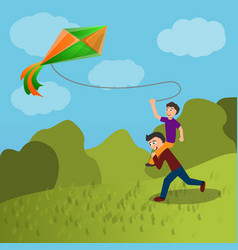 father son kite concept background cartoon style vector image