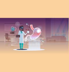 Female doctor nurse wearing digital glasses vector