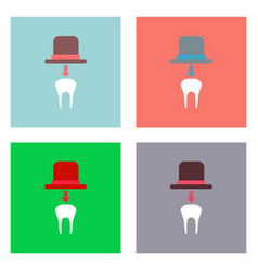 Flat icon design collection dental crown vector