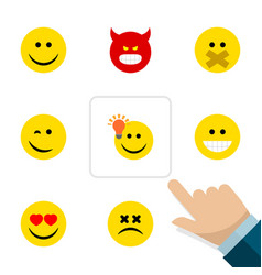 flat icon gesture set of have an good opinion vector image