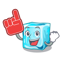 Foam finger ice cubes on the cartoon funny vector