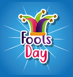 Funny colored jester hat fools day card vector