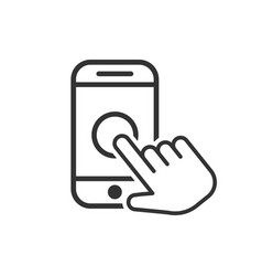 Hand touch smartphone icon in flat style phone vector