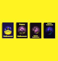 happy halloween card set paper cut vector image