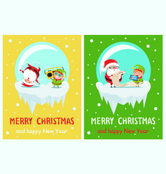 happy new year merry xmas postcard santa and elf vector image