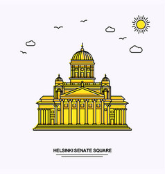 Helsinki senate square monument poster template vector