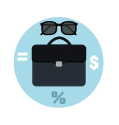 Icon briefcase and sunglasses Business concept vector image