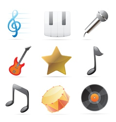 Icons for music vector image