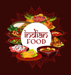 indian cuisine restaurant india food dishes vector image