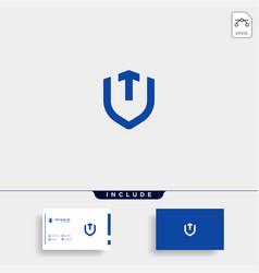 Initial t u shield logo template design vector