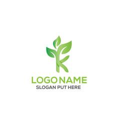 K letter eco logo design template vector