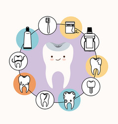 Kawaii caricature healthy tooth dental care with vector