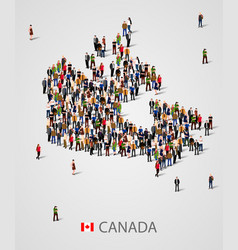 large group of people in form of canada map vector image