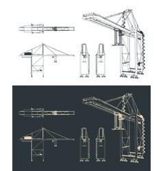 Large harbor crane drawings vector