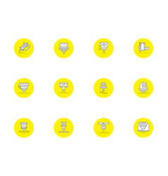 Laser technology round yellow icons set vector