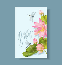 Lotus flower and dragonfly vertical botany banner vector