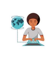 man black with laptop and planet earth vector image