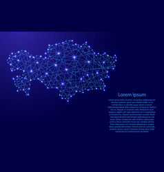map of kazakhstan from polygonal blue lines vector image vector image