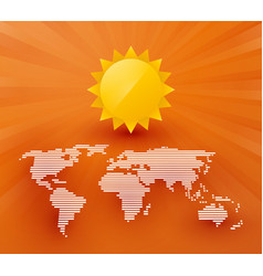 map of the world with sun and rays vector image