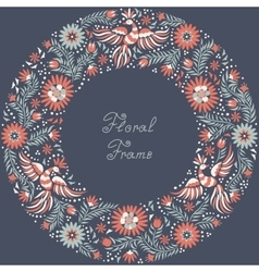 Mexican embroidery round frame pattern vector