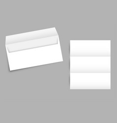 modern envelope with a sheet of paper and shadow vector image