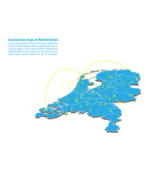 Modern of netherlands map connections network vector