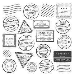 Monochrome retro postage stamps set vector