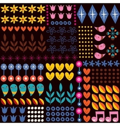 Nature hearts flowers dots fun characters seamless vector