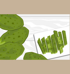 Nopal cactus paddle peeled and cut national vector