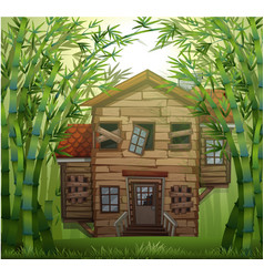 Old wooden house in bamboo forest vector