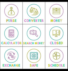 online operations with money linear icons set vector image