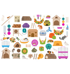 Pet rodents home accessories icon set flat style vector