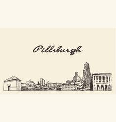 pittsburgh skyline pennsylvania usa draw a vector image