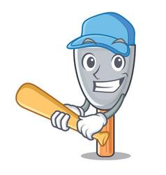 playing baseball putty blade character cartoon vector image