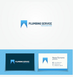 plumb service logo set with water drop vector image