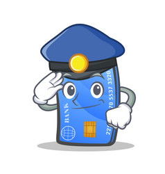 Police credit card character cartoon vector