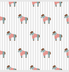 Pony cute seamless pattern with striped shirt vector
